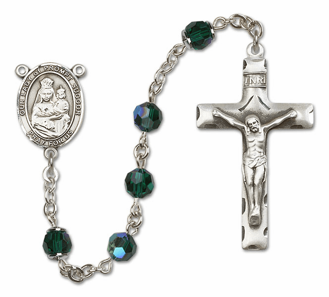 Our Lady of Prompt Succor Emerald Swarovski Sterling Silver Prayer Rosary by Bliss