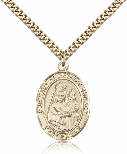 Our Lady of Prompt Succor Gold Filled Patron Medal
