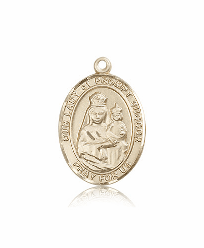 Our Lady of  Prompt Succor Patron Saint 14kt Gold Medal