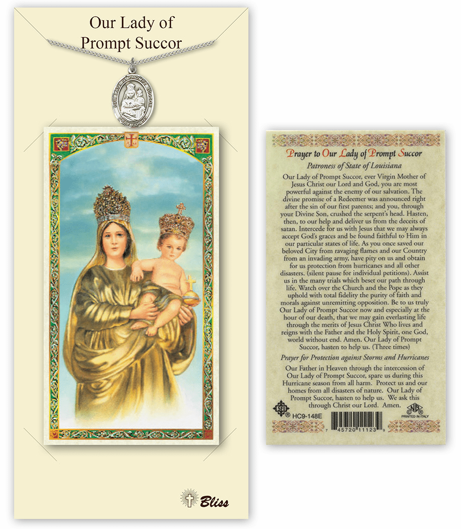 Our Lady of Prompt Succor Pendant and Holy Prayer Card Gift Set by Bliss