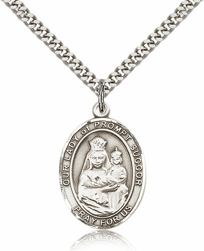 Our Lady of Prompt Succor Sterling Silver Patron Medal Necklace by Bliss Mfg