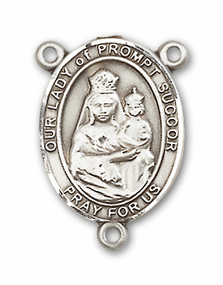 Our Lady of Prompt Succor Sterling Silver Saint Rosary Center by Bliss
