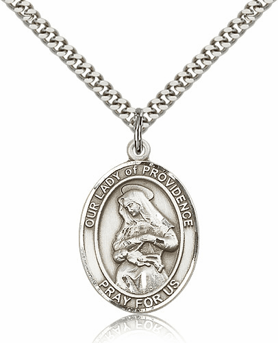 Our Lady of Providence Pewter Patron Saint Necklace by Bliss