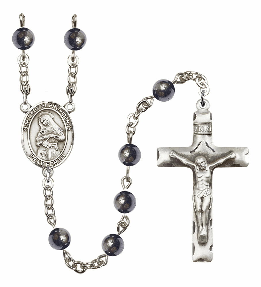Our Lady of Providence Silver Plate Gemstone Prayer Rosary by Bliss