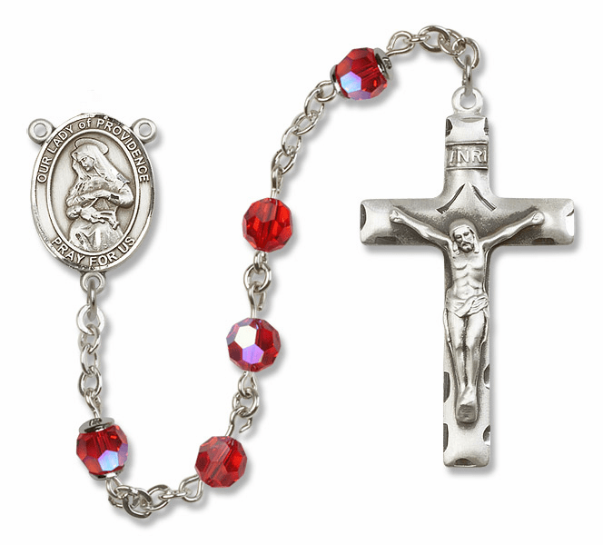 Our Lady of Providence Swarovski Sterling Silver Prayer Rosary by Bliss