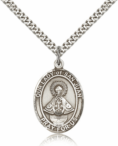 Our Lady of San Juan Pewter Patron Saint Necklace by Bliss