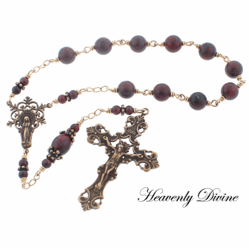 Our Lady of Snow Brecciated Jasper Wire-Wrapped Pocket Rosary by Heavenly Divine