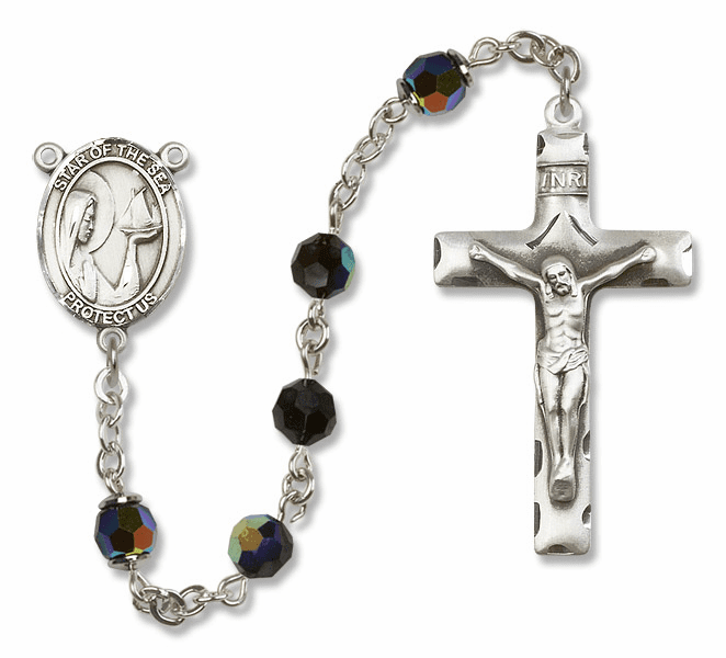 Our Lady of Star of the Sea Jet Black Swarovski Sterling Silver Prayer Rosary by Bliss