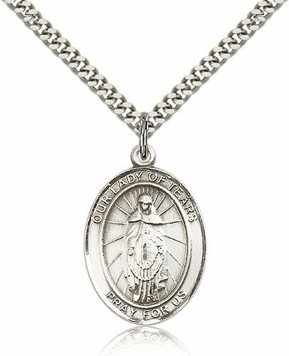 Our Lady of Tears Sterling Silver Patron Medal Necklace by Bliss