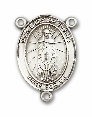 Our Lady of Tears Sterling Silver Saint Rosary Center by Bliss