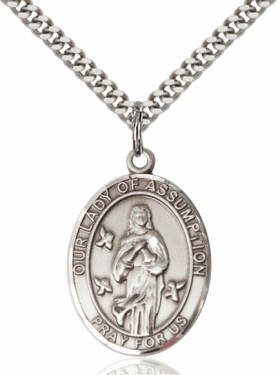 Our Lady of the Assumption Pewter Patron Saint Catholic Necklace by Bliss