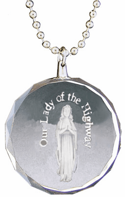 Our Lady of the Highway Rear View Mirror Auto Ornament Glass by Jeweled Cross
