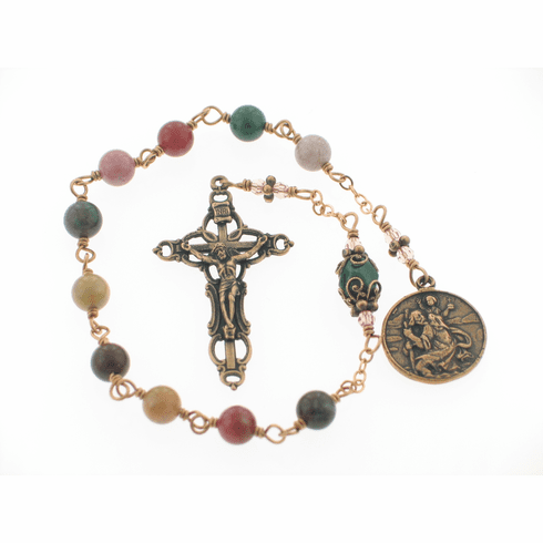 Our Lady of the Highway & St Christopher Pocket Bronze Rosary