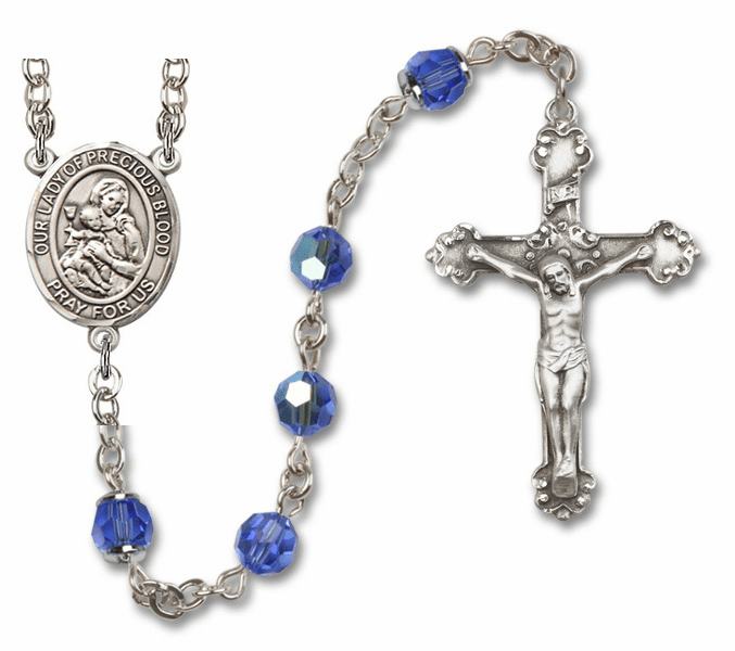 Our Lady of the Precious Blood Patron Saint Sapphire Swarovski Sterling Rosary by Bliss
