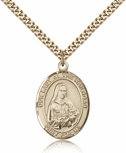 Our Lady of the Railroad 14kt Gold Filled Religious Medal Necklace by Bliss