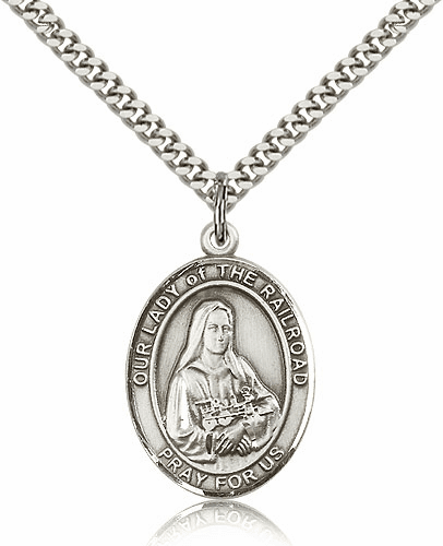 Our Lady of the Railroad Sterling Silver Religious Medal Necklace by Bliss