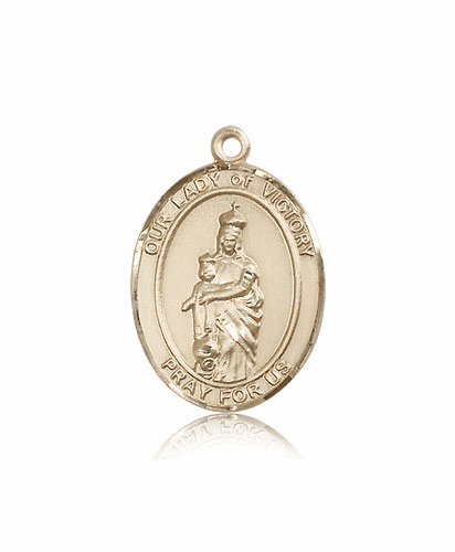 Our Lady of Victory 14kt Gold Patron Saint Medal