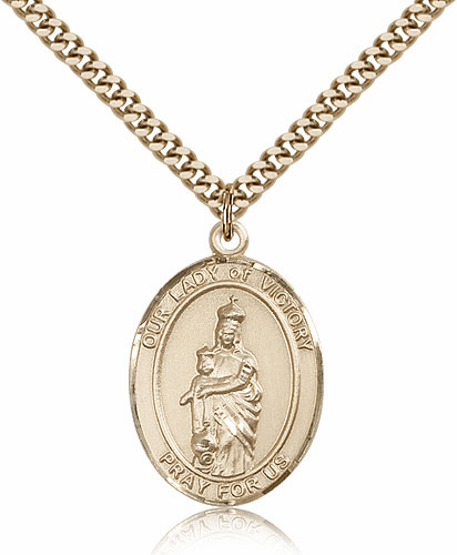 Our Lady of Victory Gold Filled Patron Medal