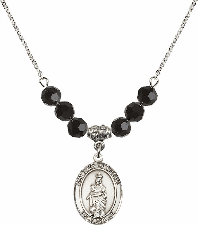 Our Lady of Victory Jet Black Swarovski Necklace by Bliss Mfg
