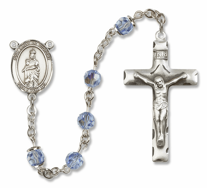 Our Lady of Victory Lt Sapphire Swarovski Sterling Silver Prayer Rosary by Bliss