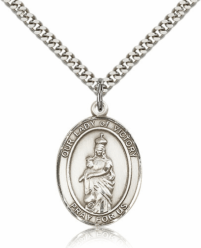 Our Lady of Victory Sterling Silver Patron Saint Medal Necklace by Bliss Mfg