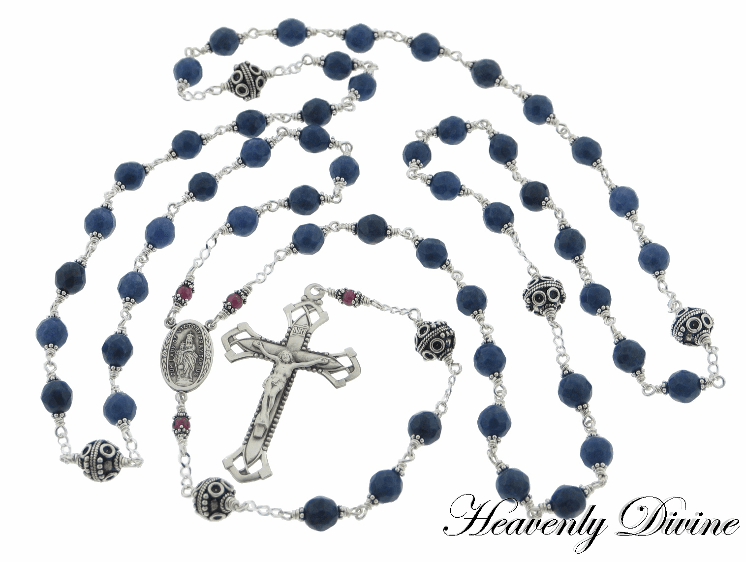 Our Lady of Victory Swarovski Sapphire & Garnet Crystal Rosary