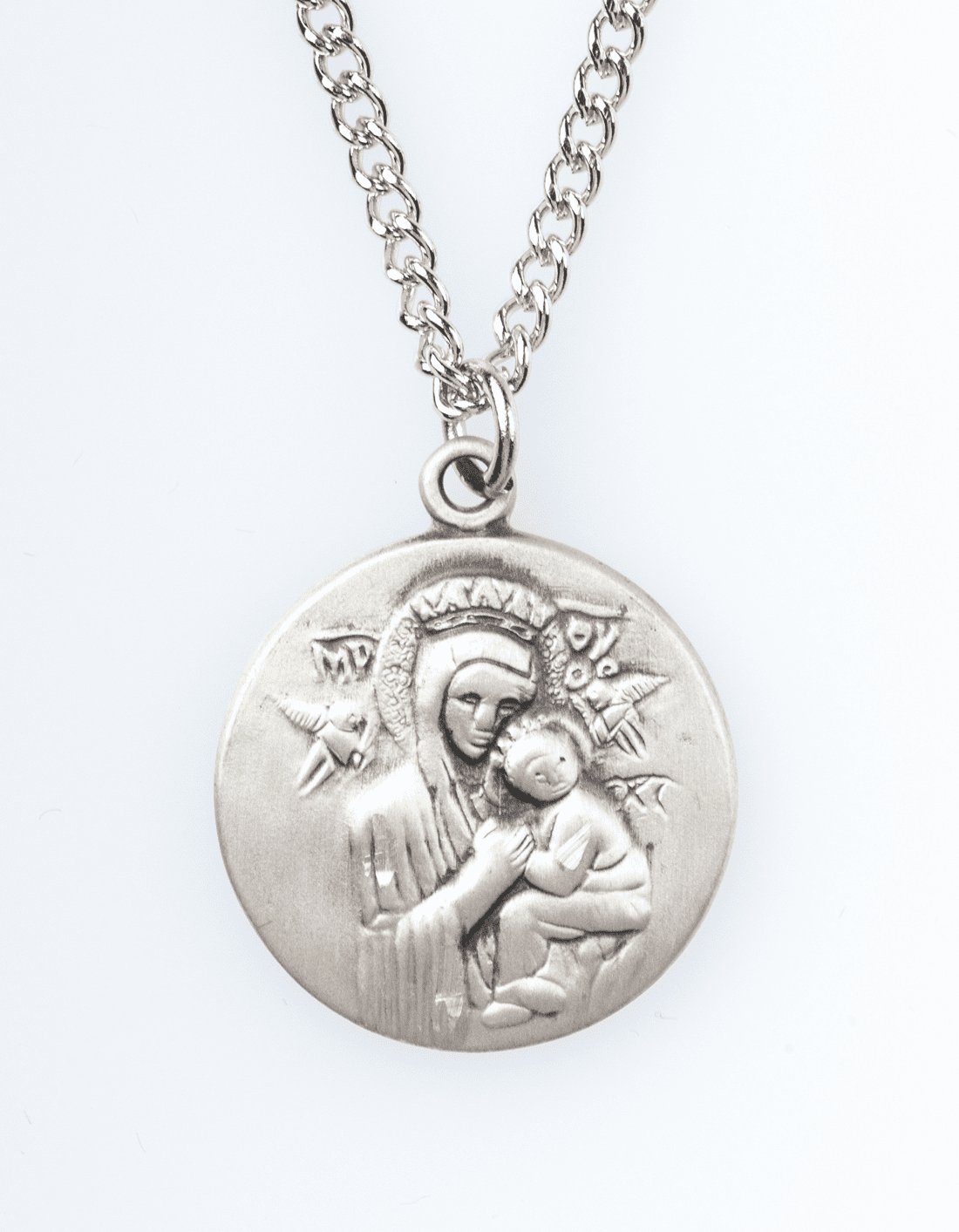 """Our Lady Perpetual Help Saint Medal Pendant w/18"""" Chain by Jeweled Cross"""