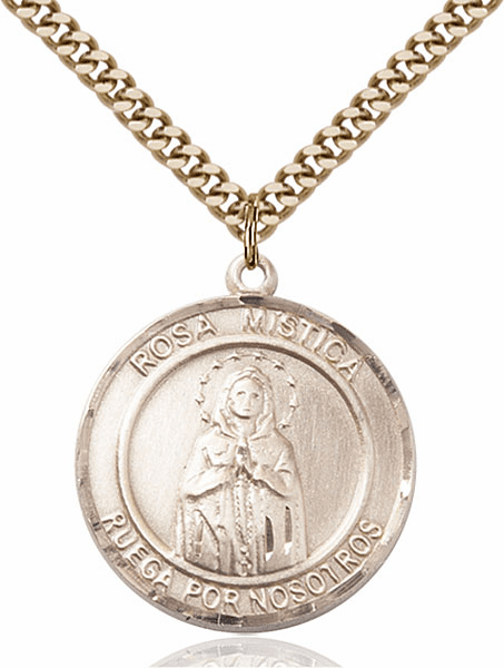 Our Lady Rosa Mystica Spanish 14kt Gold-filled Round Patron Saint Medal Necklace by Bliss