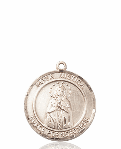 Our Lady Rosa Mystica Spanish Patron Saint 14kt Gold Medal by Bliss