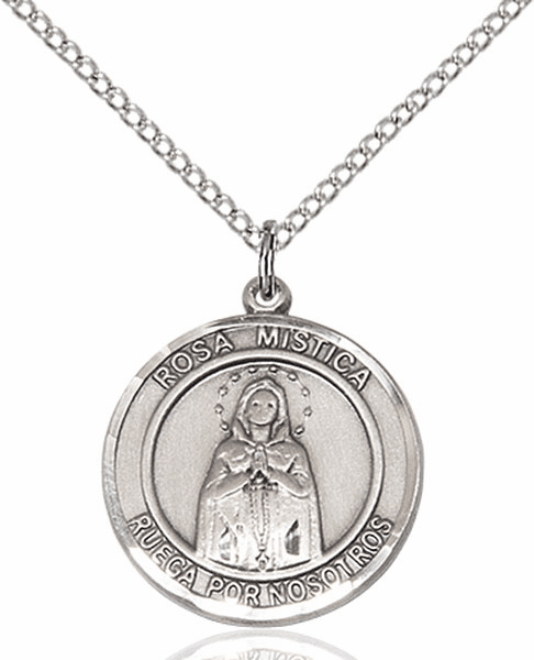 Our Lady Rosa Mystica Spanish Pewter Medal Necklace by Bliss Manufacturing