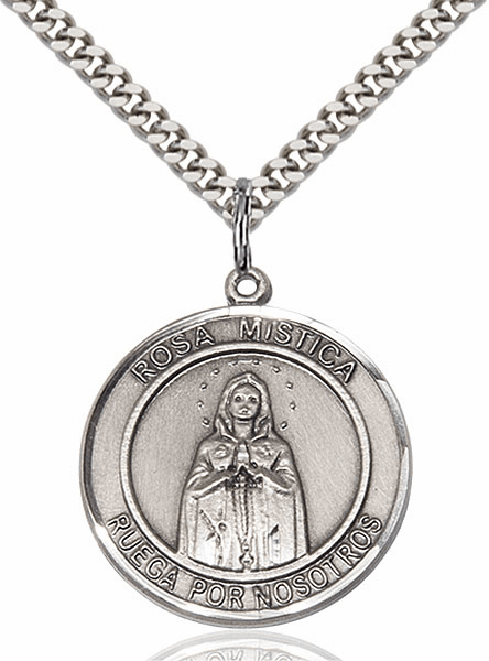 Our Lady Rosa Mystica Spanish Pewter Round Patron Saint Medal Necklace by Bliss