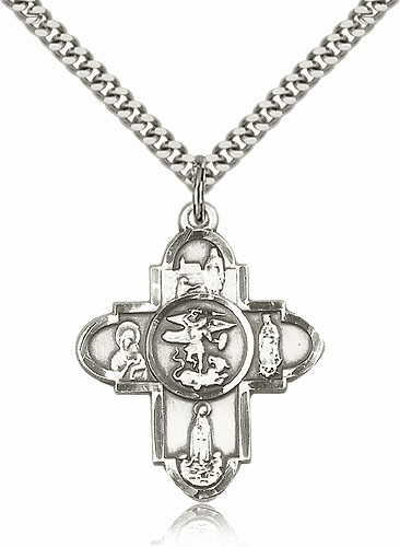 Our Lady Sterling Silver 5-Way Cross Pendant Necklace by Bliss