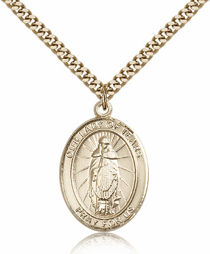 Our Lady Tears 14kt Gold Filled Patron Medal Necklace by Bliss