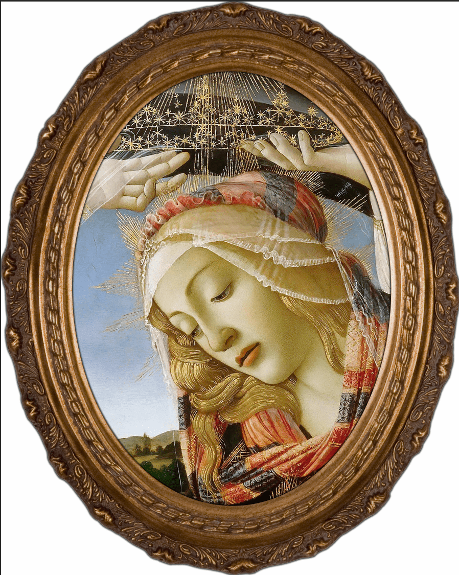 Oval Detailed Madonna of the Magnificat Canvas Wall Art by Nelson