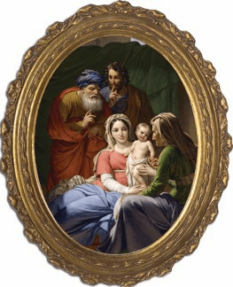 Oval Holy Family with Grandparents Joachim and Anne Canvas Picture by Nelson