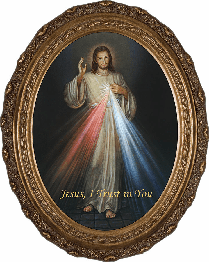Oval Jesus Divine Mercy Canvas Wall Art Picture by Nelson