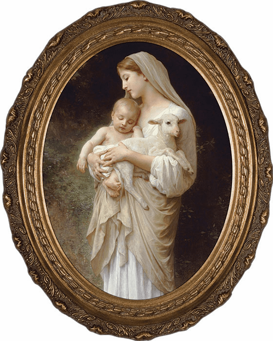 Oval L'Innocence Madonna & Child Canvas Wall Art Picture by Nelson