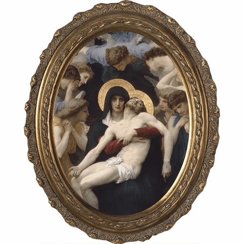 Oval La Pieta Canvas Wall Art Picture with Gold Frame by Nelson