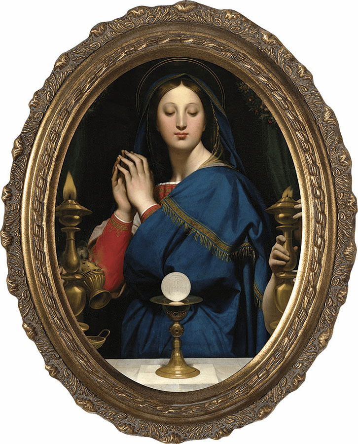 Oval Madonna of the Host Canvas Wall Art w/Gold Frame by Nelson