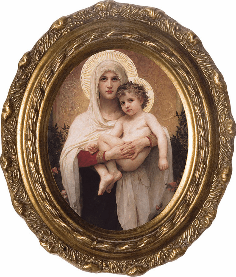 Oval Madonna of the Roses Canvas Wall Art Picture by Nelson