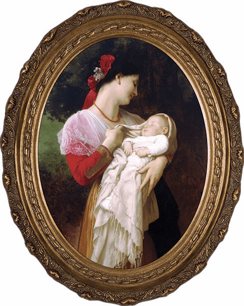 Oval Maternal Admiration Madonna & Child Canvas Wall Art Picture by Nelson