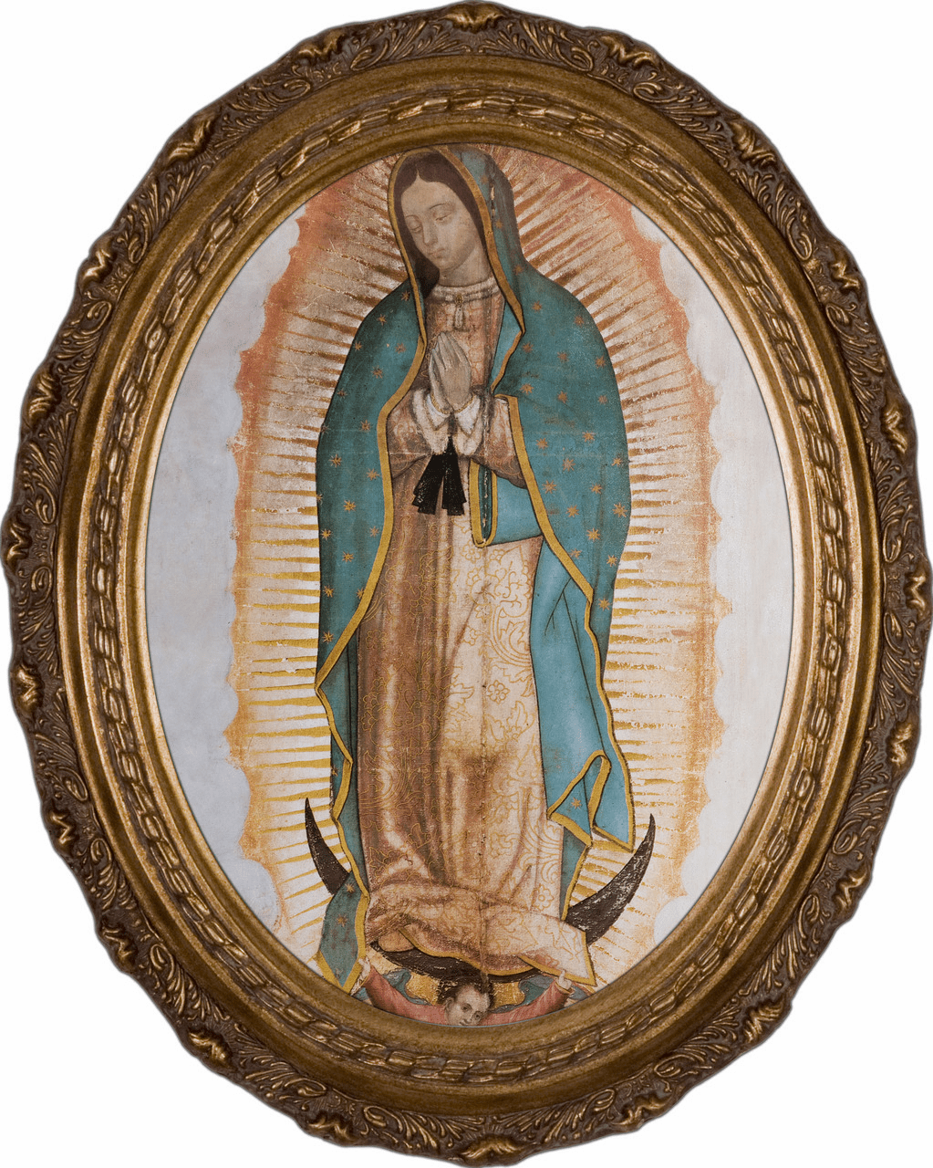 Oval Our Lady of Guadalupe Canvas Wall Art Picture by Nelson