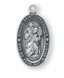Oval St Christopher Catholic Medal Necklace by HMH Religious
