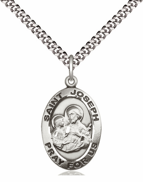 Oval St Joseph Patron Saint Silver Saint Medal by Bliss Manufacturing