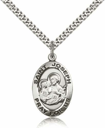 Oval St Joseph Patron Saint Sterling Silver-Filled Patron Saint Medals by Bliss