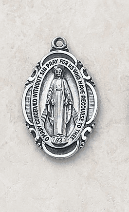 Oval Sterling Silver Miraculous Medal by Creed Jewelry