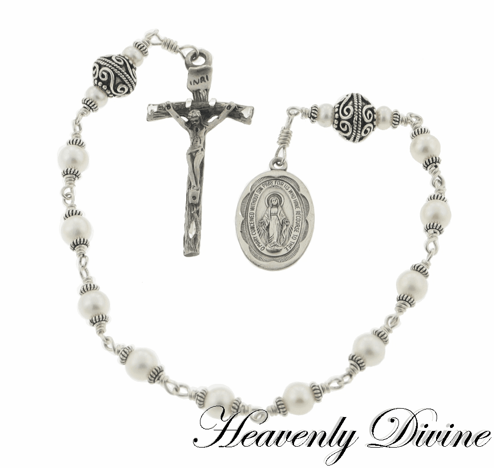 Papal Pearl One Decade Pocket Rosary by Heavenly Divine