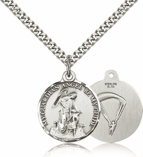 Paratrooper Guardian Angel Sterling Silver Pendant by Bliss