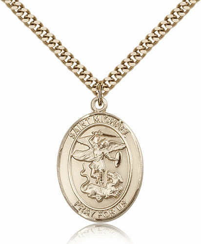 Paratrooper St Michael Archangel 14kt Gold-filled Pendant Necklace by Bliss Mfg