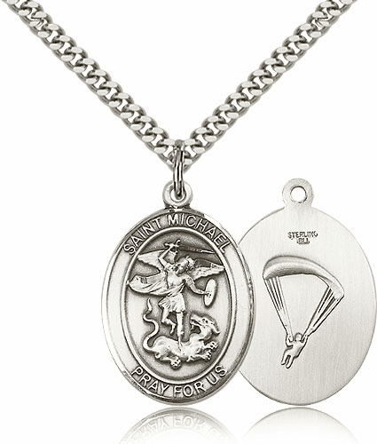 Paratrooper St Michael Archangel Pewter Pendant Necklace by Bliss Mfg